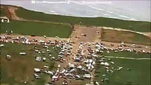 An aerial police image of a rave at Dale, Pembrokeshire in May