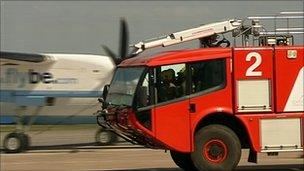Fire truck at Exeter Airport
