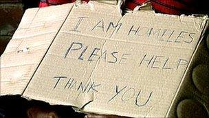 Man with homeless sign