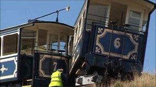The trams after the crash last September