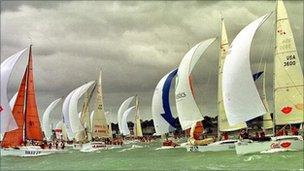 Yachts on a green sea.