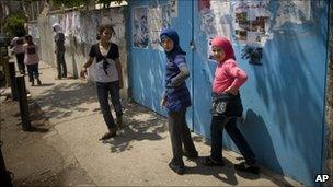Palestinian girls in the refugee camp of Ein el-Hilweh near the city of Sidon
