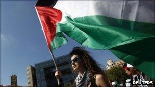 A protester carries a Palestinian flag outside the UN in Beirut. June 27, 2010