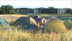 Tents pitched at Gogarburn