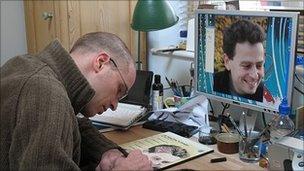 Patrick drawing Martin Jones