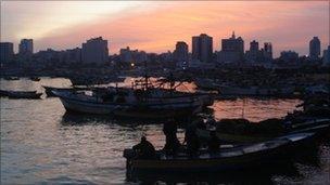 Dawn in Gaza City's harbour