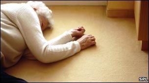 Elderly woman lying on the floor