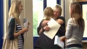 Students receiving their A level results