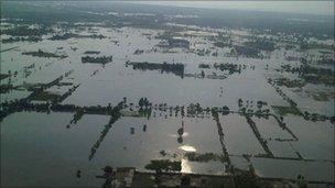 Aerial view of floods in Punjab