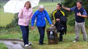 (from left to right) Linda Lawson, Bette McLaren, Roddy McIntyre (captain, Hawick Golf Club) and ex-Scotland rugby star Alan Lawson.