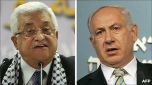 Mahmoud Abbas (L) and Benjamin Netanyahu