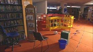 Flood damage at library