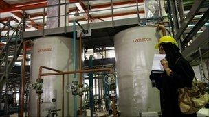 A journalist on a tour of the Bushehr power plant (file photo)