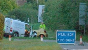 Car crash on the A262 near Tenterden