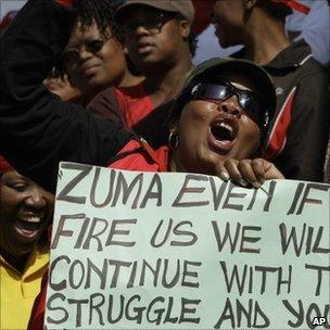 Striking South African workers protest in Soweto