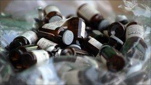 Glass capsules containing ketamine