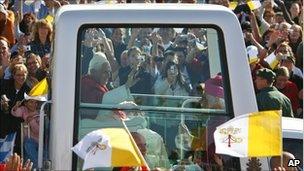 Pope Benedict XVI in his popemobile in Regensburg, southern Germany