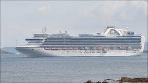 Crown Princess cruise liner anchored off Guernsey