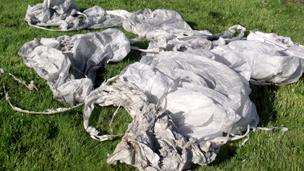 A selection of sky lanterns picked up from fields across north east Wales this year