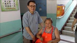 Fr Zhang and resident at old people's home, China