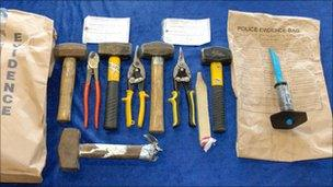 Weapons recovered by police at Gogarburn