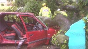 The scene, pic courtesy of West Midlands Ambulance Service