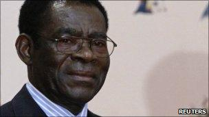 Equatorial Guinea's President Teodoro Obiang Nguema photographed on 12 August 2010