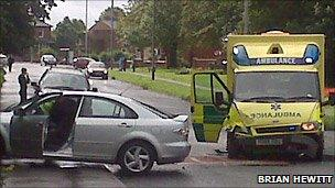Scene of collision in Kirkham