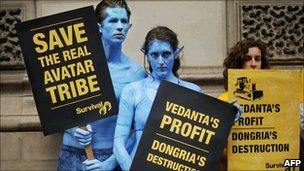 Protesters dressed as a Na'vi from James Cameron's film Avatar take part in an anti-Vedanta demonstration in London on 28 July 2010