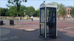 A phone box in Hull city centre