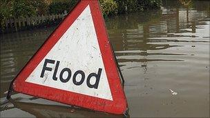 A flood warning sign (generic)