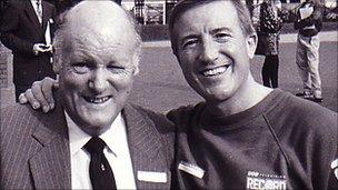 Gwilym Hughes with the late entertainer Roy Castle