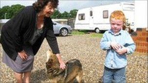 Mary McCarthy and grandson at the Dale Farm site