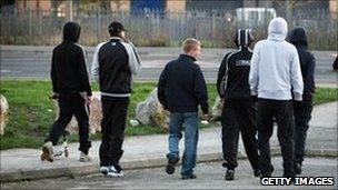 Teenagers in street