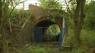 A railway line in Staffordshire where a man with a machete or samurai sword was reportedly seen