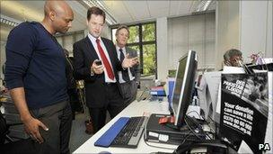 Nick Clegg on a visit to the DEC headquarters
