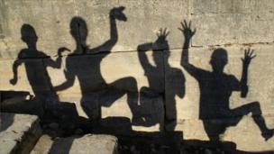 Shadows on a wall in Phaistos, Crete
