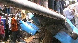 Congo crash site, still from local television