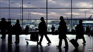 air passengers at an airport