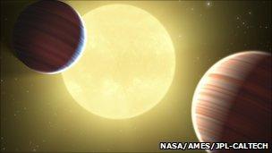 An artist's impression of Kepler-9b and 9c (NASA/Ames/JPL-Caltech)