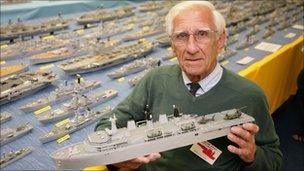 Philip Warren with his fleet of model ships