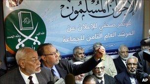 Former supreme guide Mohammed Mahdi Akef, left, and senior member Essam al-Erian in Cairo, Jan 2010