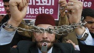 Muslim Brotherhood protest in Cairo against trial of members, Feb 2008