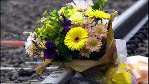Flowers on railway track