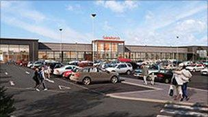 A computer generated image of what the new Sainsbury's store will look like