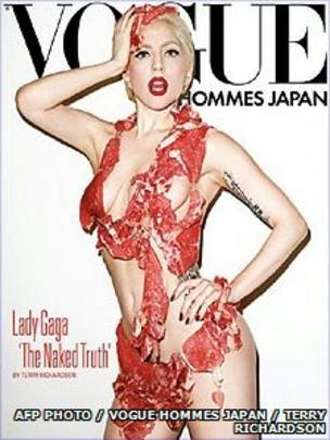Show me lady gaga meat dress images