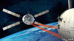 An artist's impression of an ATV approach to the ISS (Esa)