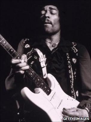 Jimi Hendrix Performs Onstage Late 1960s