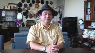 Professor Tetsumi Takara, in his office at Ryukyu University