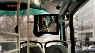 The inside of a bus